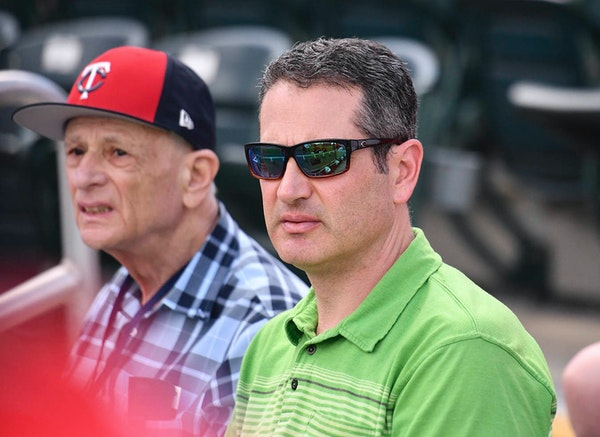 Twins general manager Thad Levine watched the game.