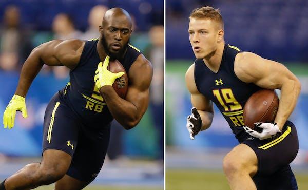 LSU running back Leonard Fournette, left, and Stanford running back Christian McCaffrey ran drills at the 2017 NFL combine.