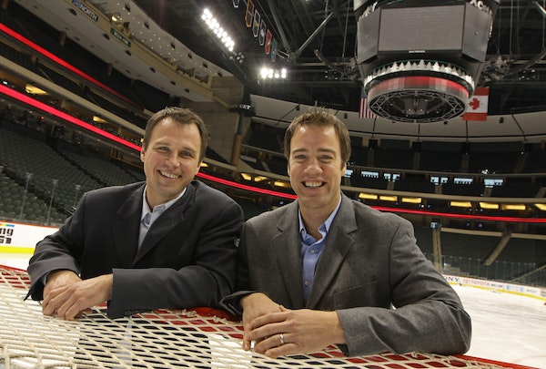 Wild assistant coach Darby Hendrickson (right, with director of player development Brad Bombardir) in 2010.