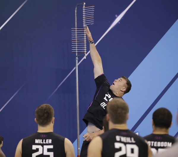 Notre Dame offensive lineman Mike McGlinchey vertical jumps during the NFL football scouting combine, Friday, March 2, 2018, in Indianapolis. (AP Phot
