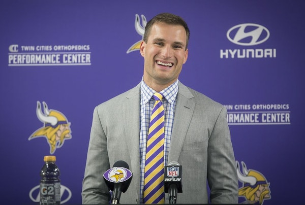 Kirk Cousins was officially introduced as a Vikings quarterback during a press conference at the Vikings TCO Performance Center, Thursday, March 15, 2