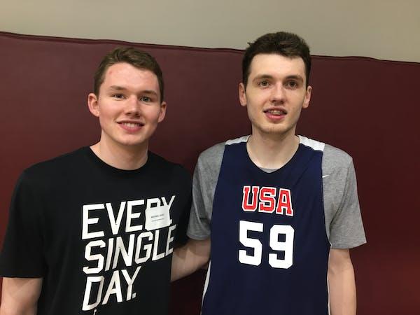 Michael Hurt (left) with his brother Matthew Hurt in San Antonio