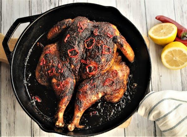Pressed Spiced Chicken With Hot Honey Glaze.