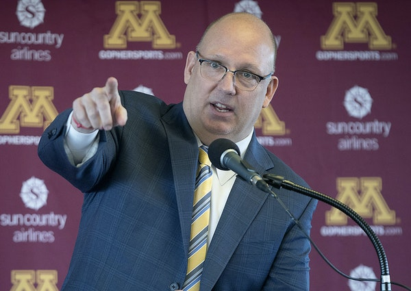 Bob Motzko, the new Gophers hockey coach addressed the media, family, former players and coaches, during a press conference at TCF Bank Stadium, Thurs