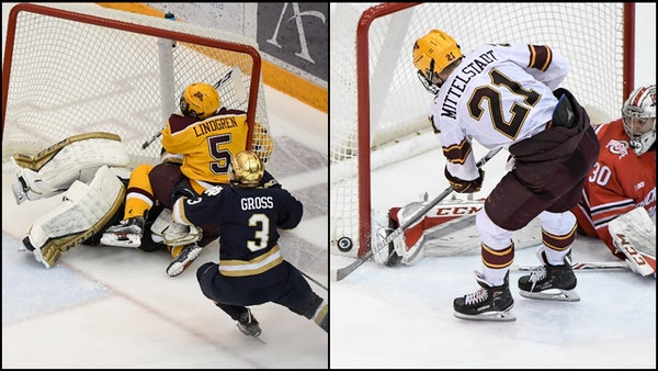 Gophers defenseman Ryan Lindgren, left, will leave the program and sign with the New York Rangers organization, forgoing his junior and senior seasons