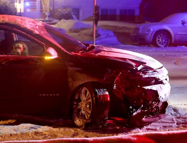 This car spun out in Minneapolis on Feb. 7.