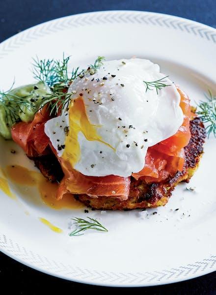 Smoked Salmon Eggs Benedict With Potato Pancakes.