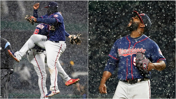 Miguel Sano and Logan Morrison (left) celebrated after the Twins beat Pittsburgh 7-3 on a cold, snowy night in Pittsburgh while closer Fernando Rodney