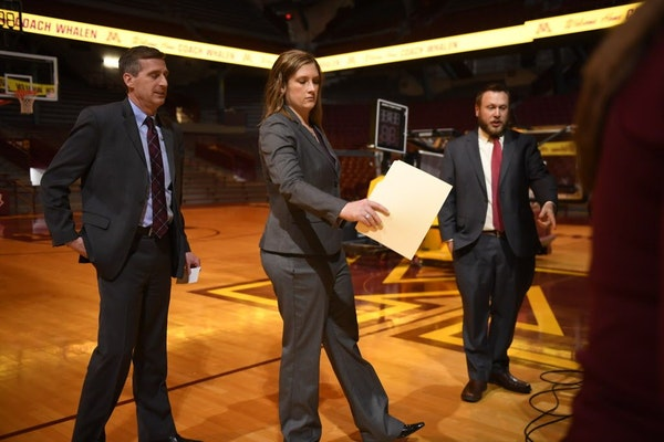 Athletics Director Mark Coyle, left, and new Head Coach Lindsay Whalen met with the media Friday, April 13, at 3 p.m. inside Williams Arena