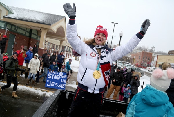 Jessie Diggins, team USA Olympic gold medalist cross country skier, had a parade held in her honor in downtown Stillwater as hundreds came out in snow