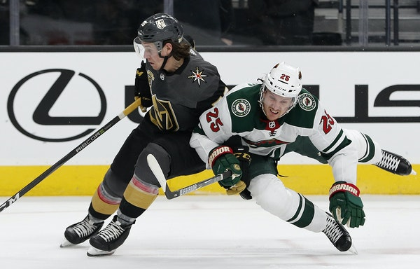 Vegas' Erik Haula and the Wild's Jonas Brodin (25) showed equal intensity when the teams met March 16, but success rates haven't been equal. The