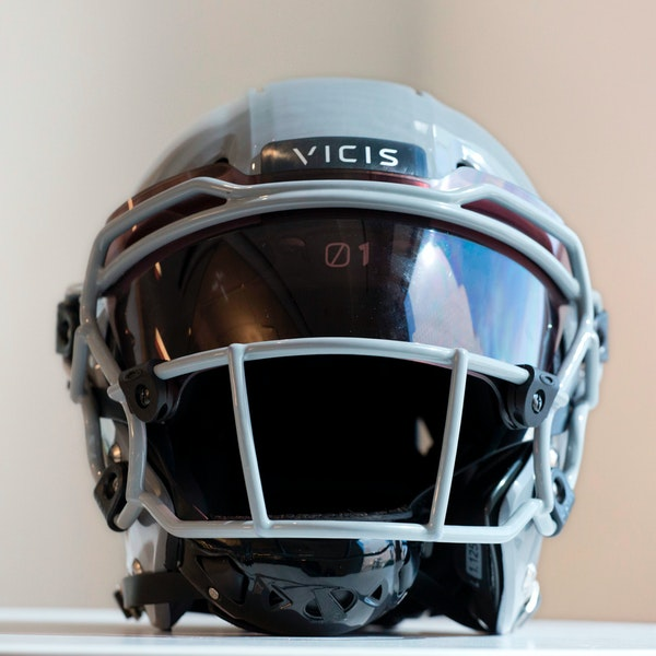 FILE - In this Sept. 11, 2017, file photo, a VICIS Zero1 helmet is displayed in New York. The NFL for the first time is prohibiting certain helmets fr