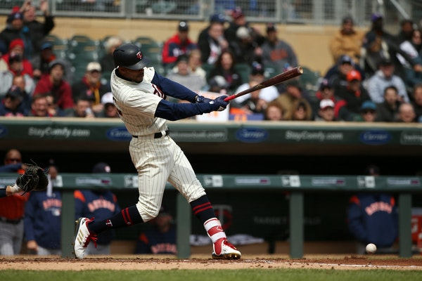 Minnesota Twins center fielder Byron Buxton (25) connected with the ball for a double in the second inning.