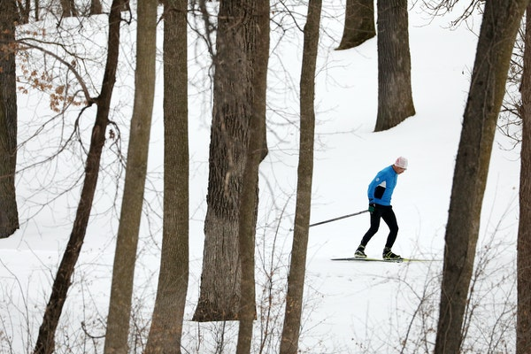 Ji Chen skied the cross country course Wednesday at Theodore Wirth Park.