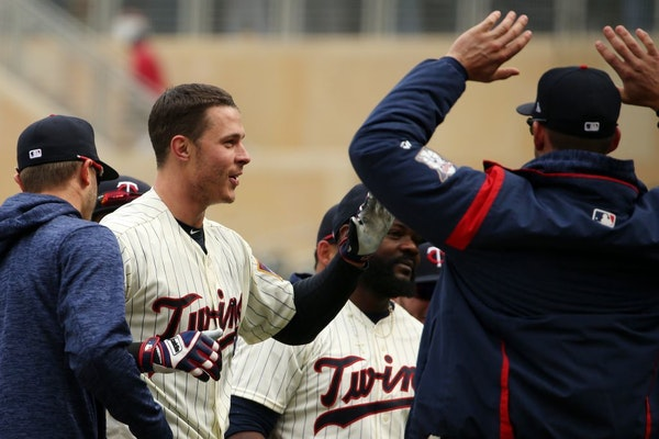 Minnesota Twins right fielder Max Kepler (26) celebrated after he hit a game winning solo home run in the bottom of the ninth inning.