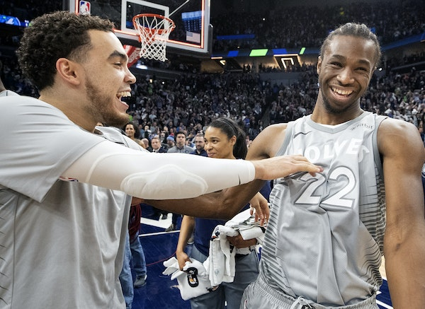 Tyus Jones and Andrew Wiggins are just two of the Timberwolves who will appear in their first playoff game Sunday.