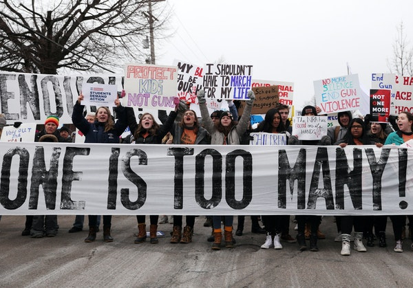 Students gathered in St. Paul last month before matching to protest gun violence.