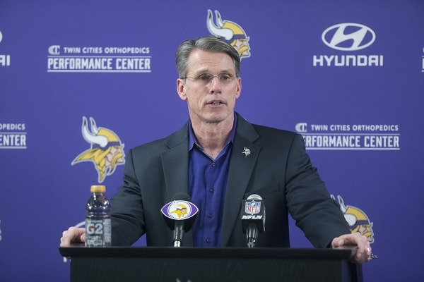Minnesota Vikings general manager Rick Spielman introduced Kirk Cousins during a press conference at the Vikings TCO Performance Center, Thursday, Mar