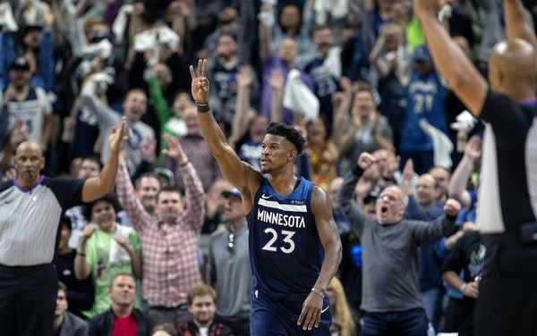 Jimmy Butler (23) reacted after hitting a three-pointer during the third quarter of Game 3.