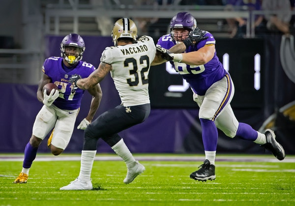 Center Pat Elflein, right, selected in the third round by the Vikings in the NFL draft last year, is one of the few offensive linemen drafted by Gener