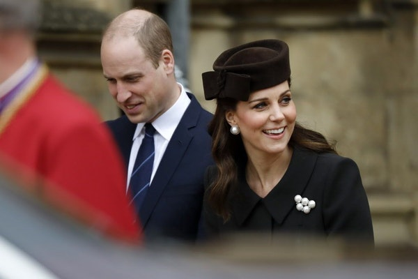 Britain's Prince William and Kate, Duchess of Cambridge, leave the annual Easter Sunday service at St George's Chapel at Windsor Castle in Windsor, En