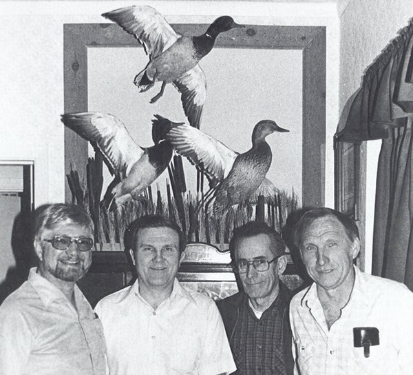 Four men from Albert Lea — from left, Dick Lindell, Tom Tubbs, the late Bob Head and Ray Hangge — founded the Minnesota Waterfowl Association in 1