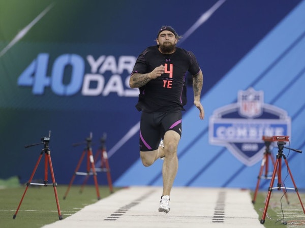Central Michigan tight end Tyler Conklin runs the 40-yard dash during the NFL football scouting combine, Saturday, March 3, 2018, in Indianapolis.