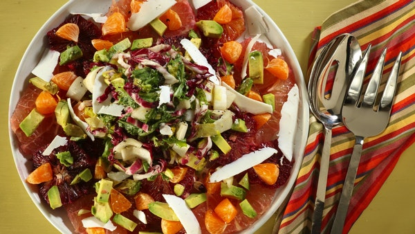 A mix of grapefruit, blood oranges and mandarins forms the base for this salad, while endive and radicchio provide contrasting bitterness.