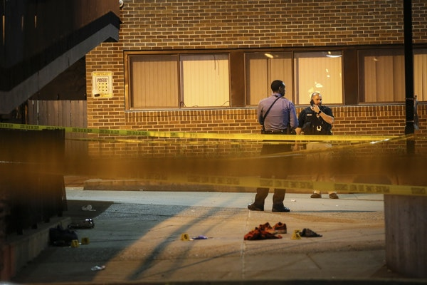 Police investigated the shooting that sent six people to the hospital Wednesday in Minneapolis.
