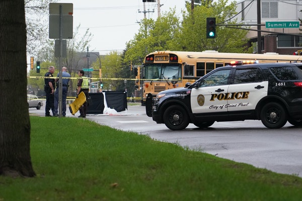 St. Paul police at Snelling and Summit avenues investigated a fatal crash involving a school bus and a bicyclist on Wednesday afternoon.