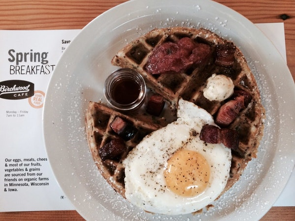 Savory waffles at the Birchwood Cafe are served all day.