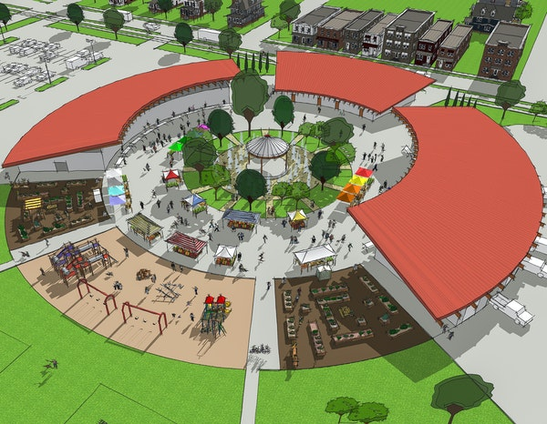 A circle of covered stalls enclosing a green space is one design idea for a new Rochester Farmers Market, given enough land and funding.