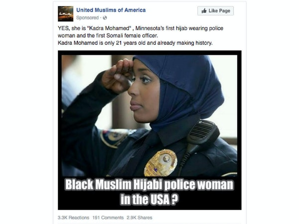 This post about Minnesota's first hijab-wearing police officer was among the ads sponsored on Facebook as part of Russia's efforts to interfere in U