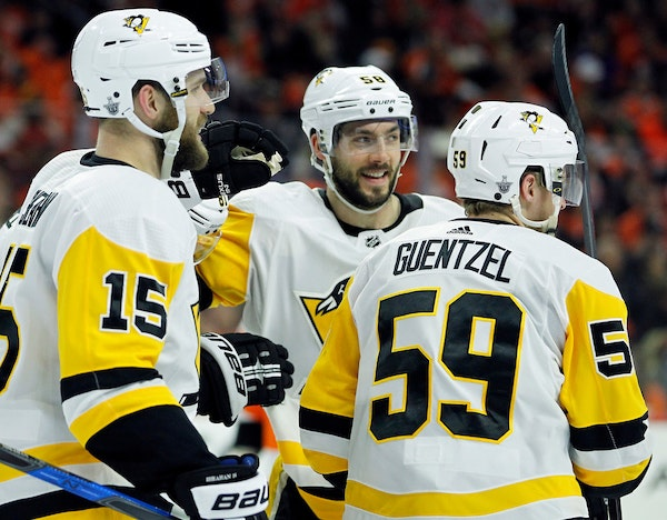 Jake Guentzel scored four goals for Pittsburgh in Game 6 of its series against Philadelphia, and wasn't shy talking about it on the ice.