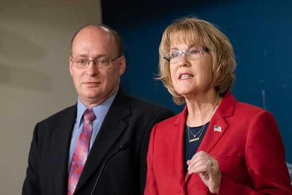 GOP Governor candidate Mary Giuliani Stephens announced Rep. Jeff Backer, R-Browns Valley as her running mate in a State Capitol press conference.