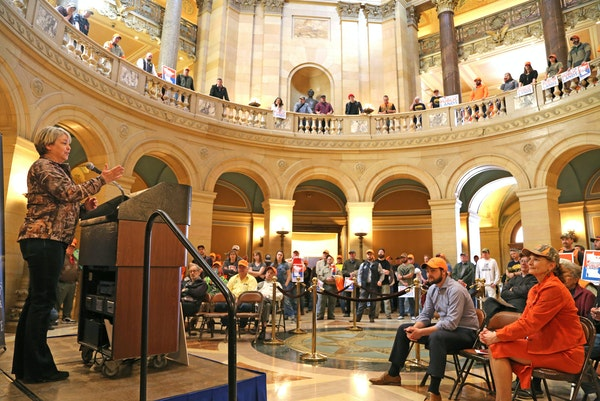 Julie Blackburn, a member of the Lessard-Sams Outdoor Heritage Council, addressed attendees of the Public Lands Rally in the Capitol rotunda on Wednes