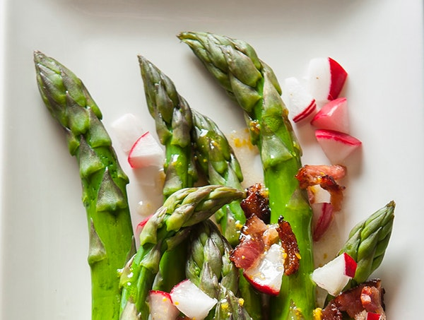 Asparagus With Pancetta and Radish.