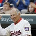 Former Twins infielder/manager/broadcaster Frank Quilici gestured to the Target Field crowd before a Twins-Mariners game in 2015. He died Monday follo