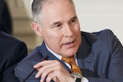 Scott Pruitt, head of the Environmental Protection Agency, speaks at a meeting in the White House in Washington, Feb. 12, 2018.