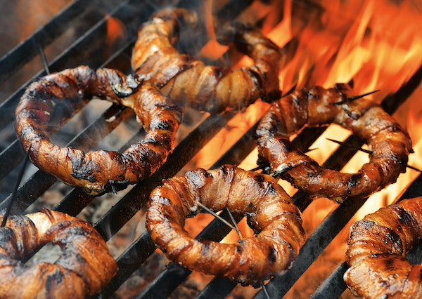 """Bacon-Grilled Onion Rings from """"Project Fire."""""""