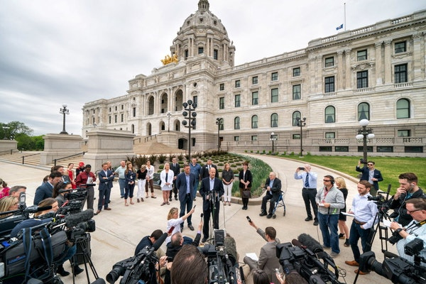 Republican legislative leaders House Speaker Kurt Daudt and Senate Majority Leader Paul Gazelka spoke outside the State Capitol on Monday.