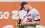 """Twins right fielder Max Kepler checked his positioning card Thursday in Anaheim. """"It's nice to know that … this is where you're supposed to be"""