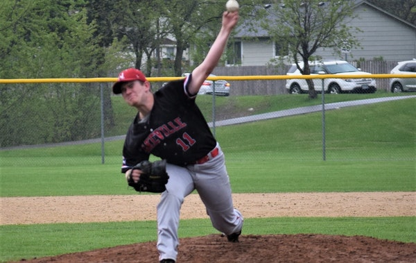 Nathaniel Peterson of Lakeville North dominated Apple Valley on May 14.