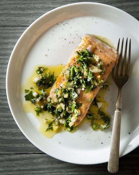 Poached Salmon with Fresh Lemon Salsa.