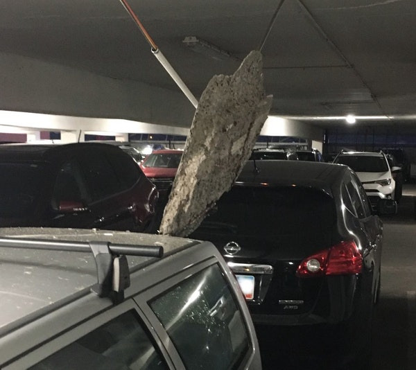 Fallen chunk of concrete forced the closure of the RiverCentre parking ramp.