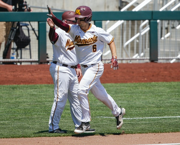 Minnesota's Terrin Vavra (6) rounds the bases after hitting a solo home run against Purdue during the third inning of the NCAA Big Ten baseball champi
