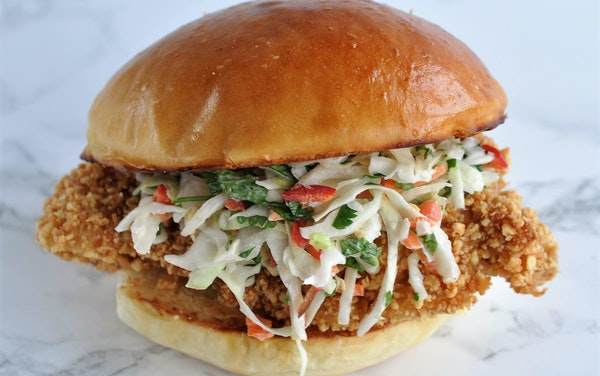 Peanut-Crusted Chicken Sandwich with Red Chile Slaw.