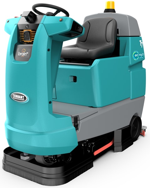 An autonomous version of Tennant's T7 floor scrubber learns as it cleans. Look for Tennant's first self-driving scrubbers this year.