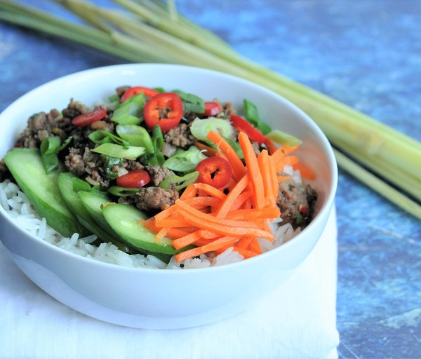 Lemongrass Beef and Coconut Rice Bowls.