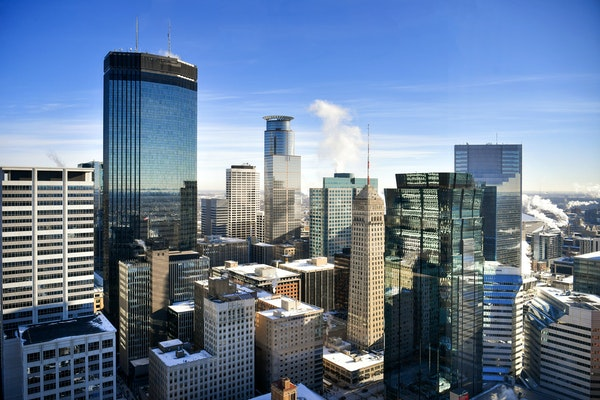The Minneapolis skyline, including: IDS Center, Foshay Tower, Capella Tower, Ameriprise Financial Center, Campbell Mithun Tower, AT&T Tower, 33 South